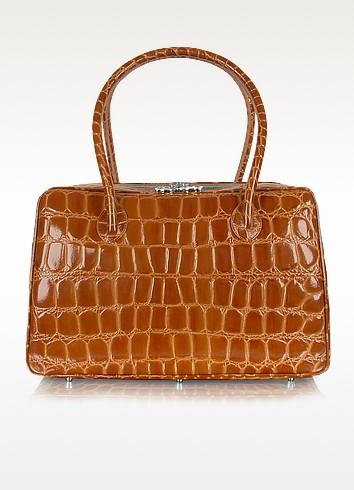 Spiga - Brown Croco Stamped Calfskin Medium Satchel Bag - Giorgio Fedon 1919