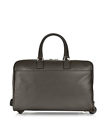 Dark Brown Travel Leather Rolling Duffle - Giorgio Fedon 1919