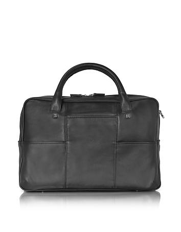 Giorgio Fedon 1919 - British Black Leather Briefcase w/13 Laptop Compartment