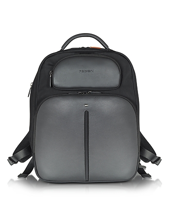 Giorgio Fedon 1919 - Web File 2 Black Leather and Nylon Men's Backpack