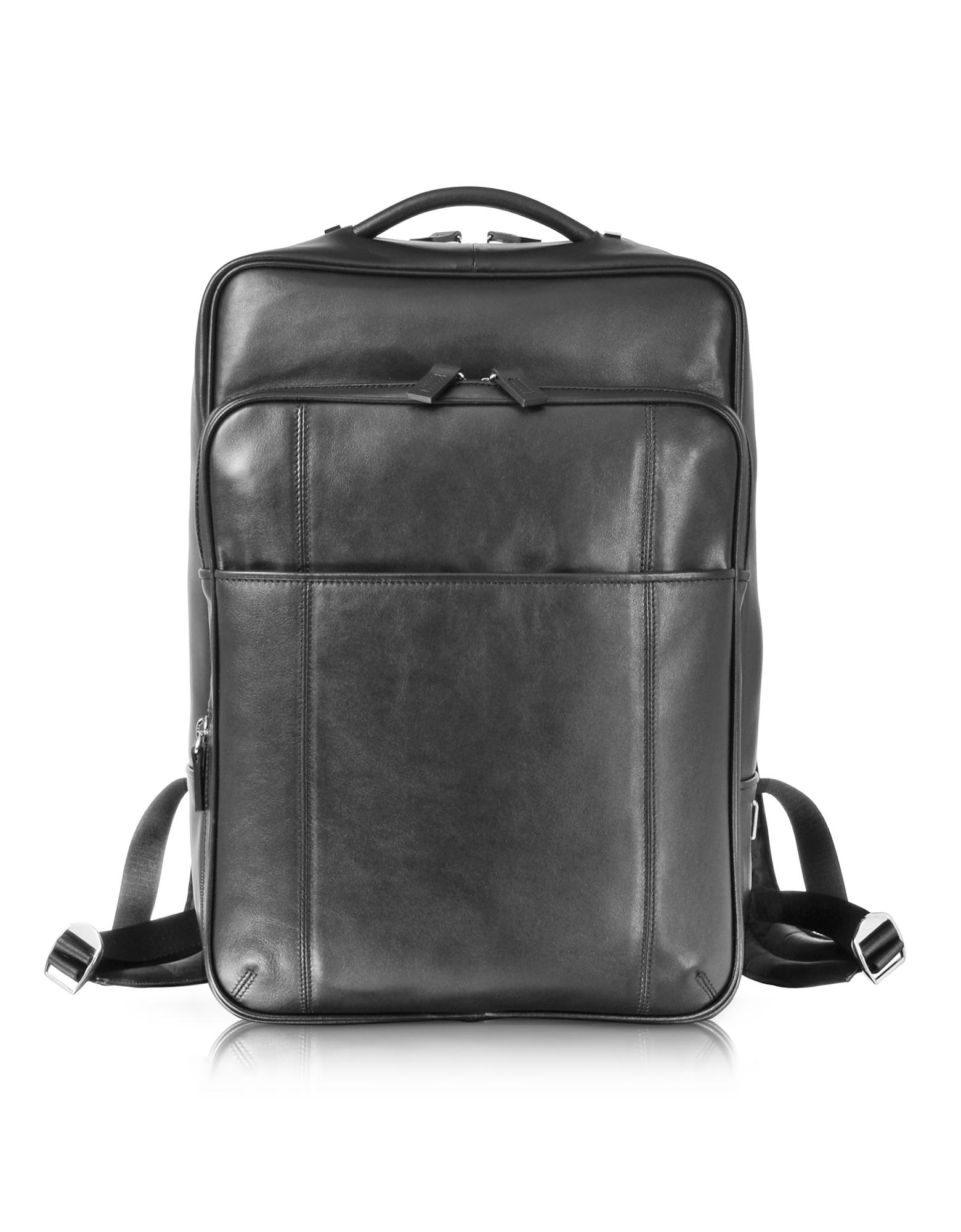 British - Черный Кожаный Рюкзак