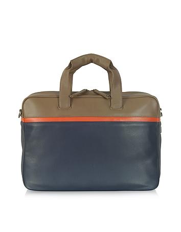 Giorgio Fedon 1919 - Life File Color Block Leather Briefcase