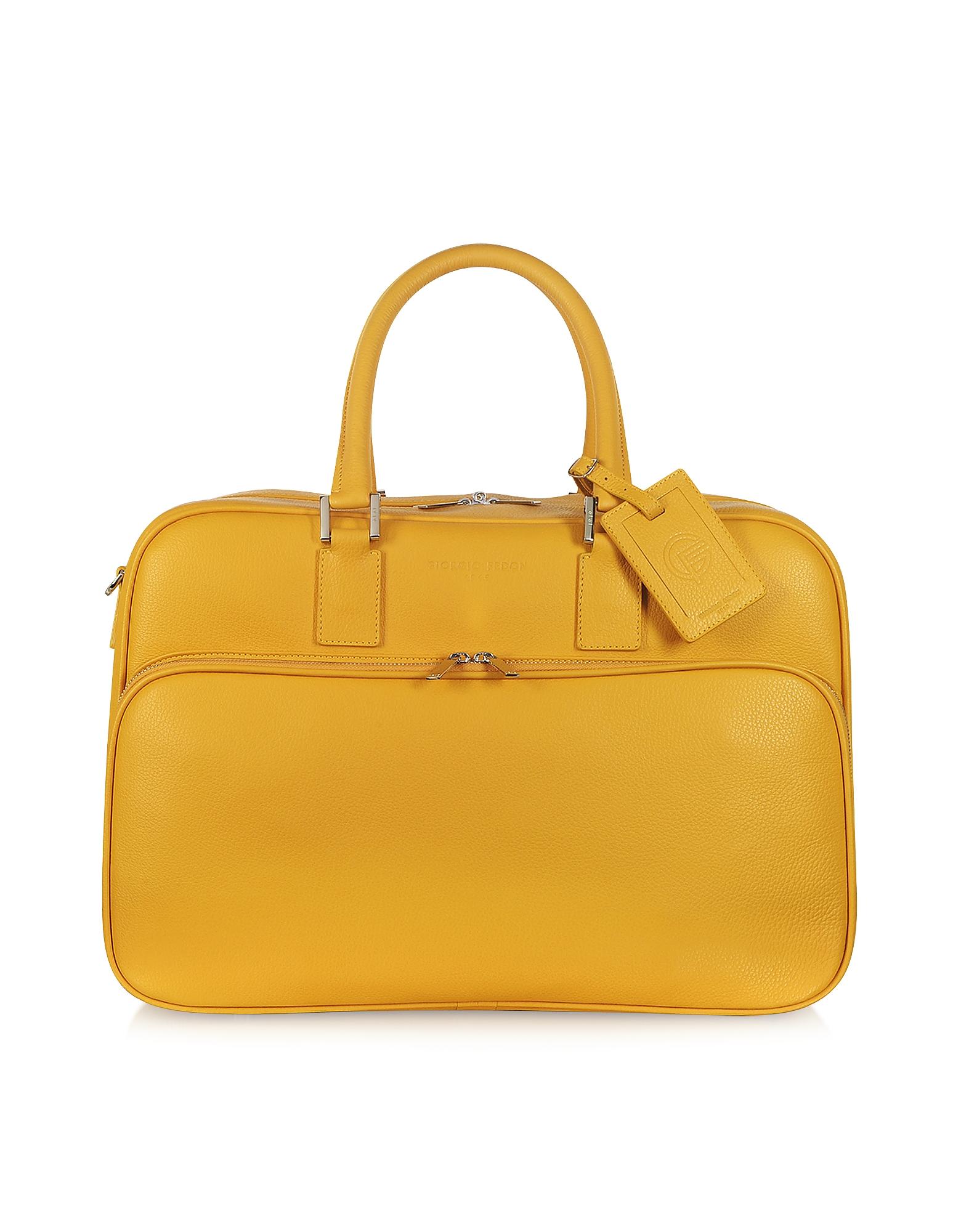 Travel-Bag - Желтая Кожаная Сумка Ручная Кладь с Двумя Ручками