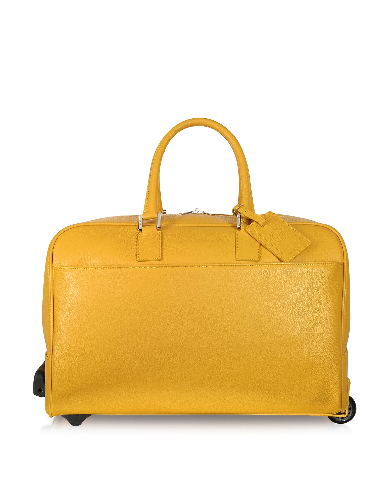 Giorgio Fedon 1919 Travel Bags, Travel Yellow Leather Rolling Duffle