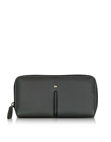 Giorgio Fedon 1919 - Web Black Leather and Nylon Zip Around Women's Wallet