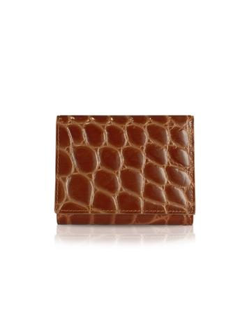 Spiga - Women's Brown Croc Stamped Calfskin Small Wallet