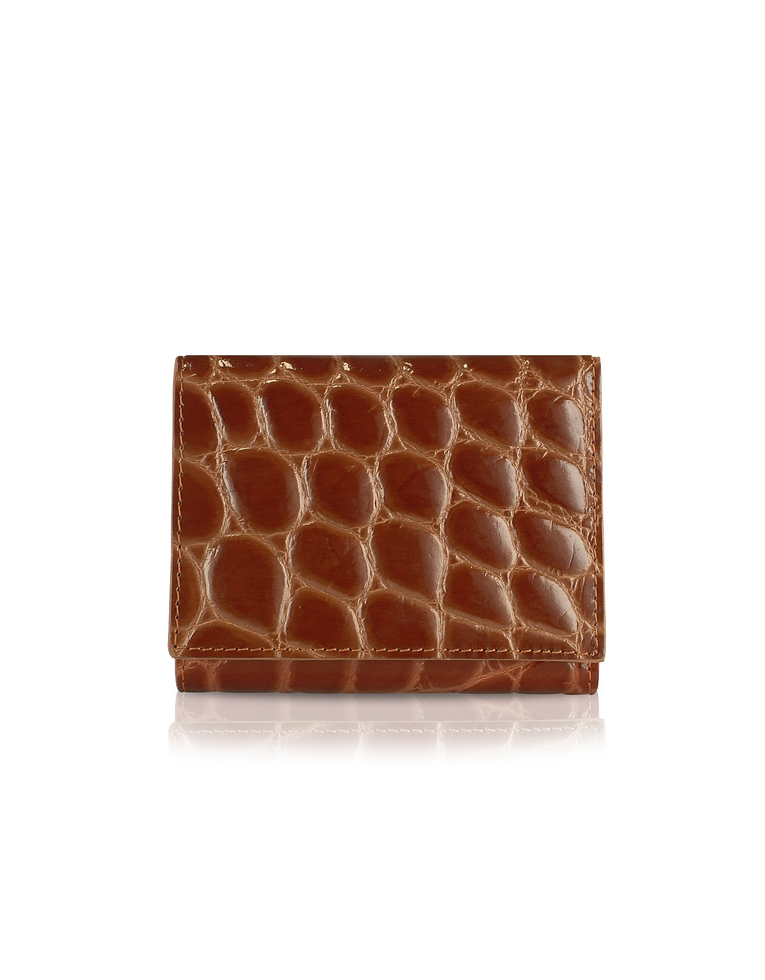 Giorgio Fedon 1919 Designer Wallets, Spiga - Women's Brown Croc Stamped Calfskin Small Wallet