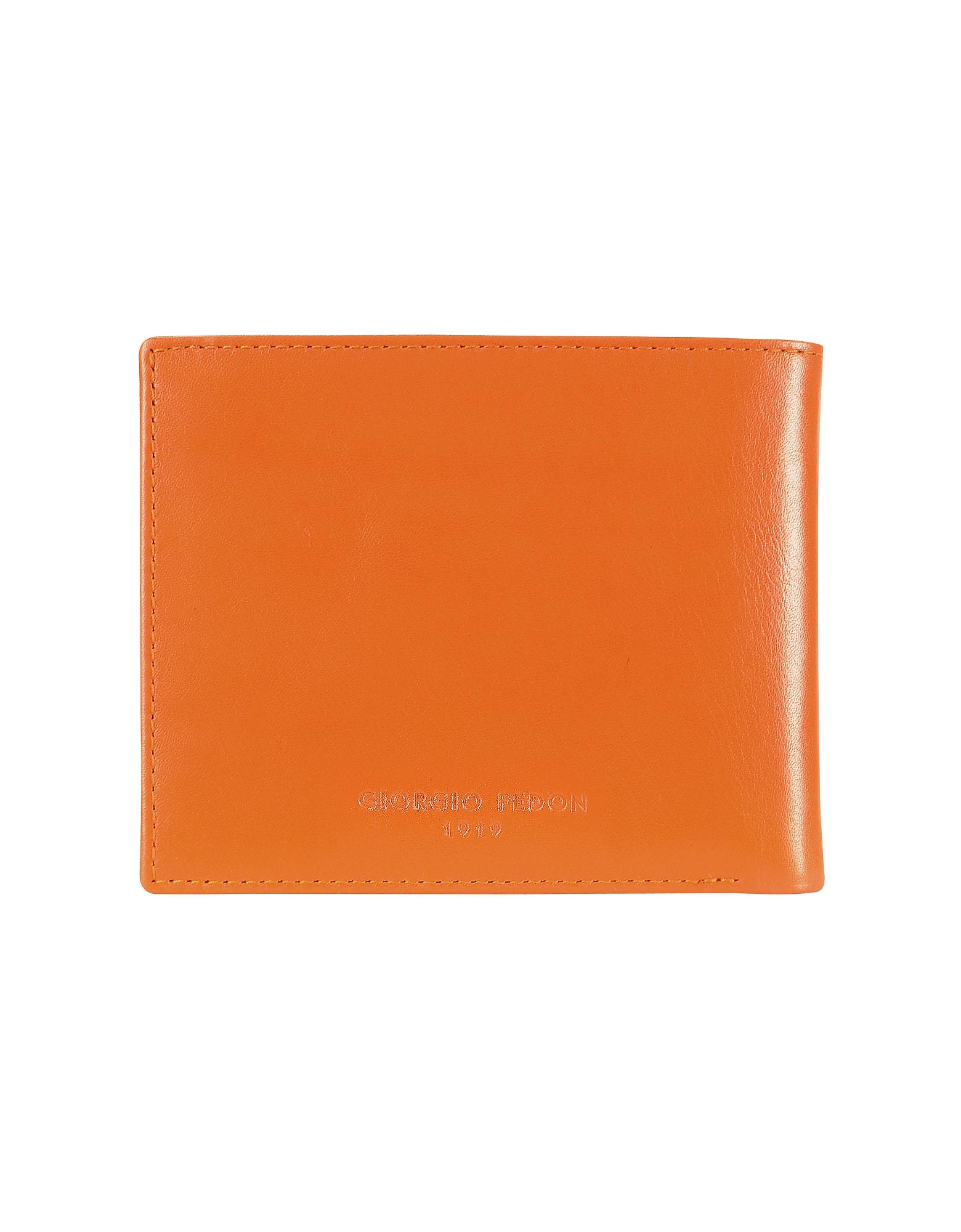 Фото Classica - Оранжевый Мужской Бумажник для Кредитных Карт из Кожи Теленка. Купить с доставкой