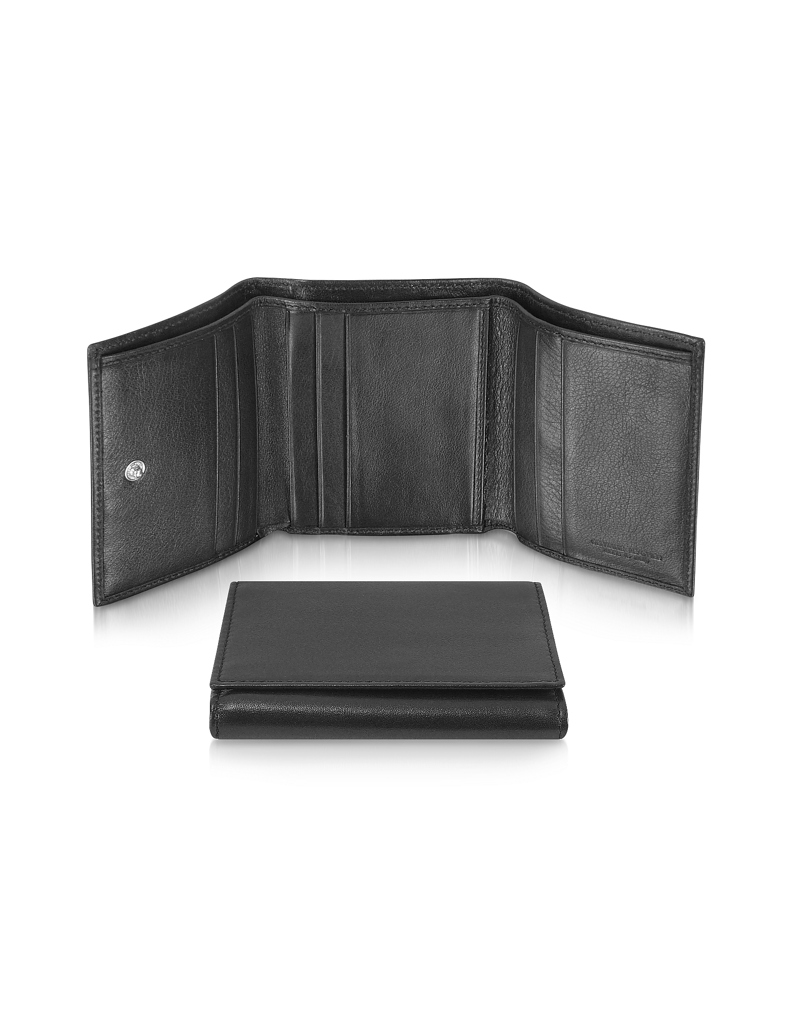 Giorgio Fedon 1919 Wallets, Classica - Women's Black Calfskin Small Trifold Wallet