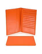 Lux-ID 208259 Classica Collection - Orange Calfskin Vertical Card Holder Wallet