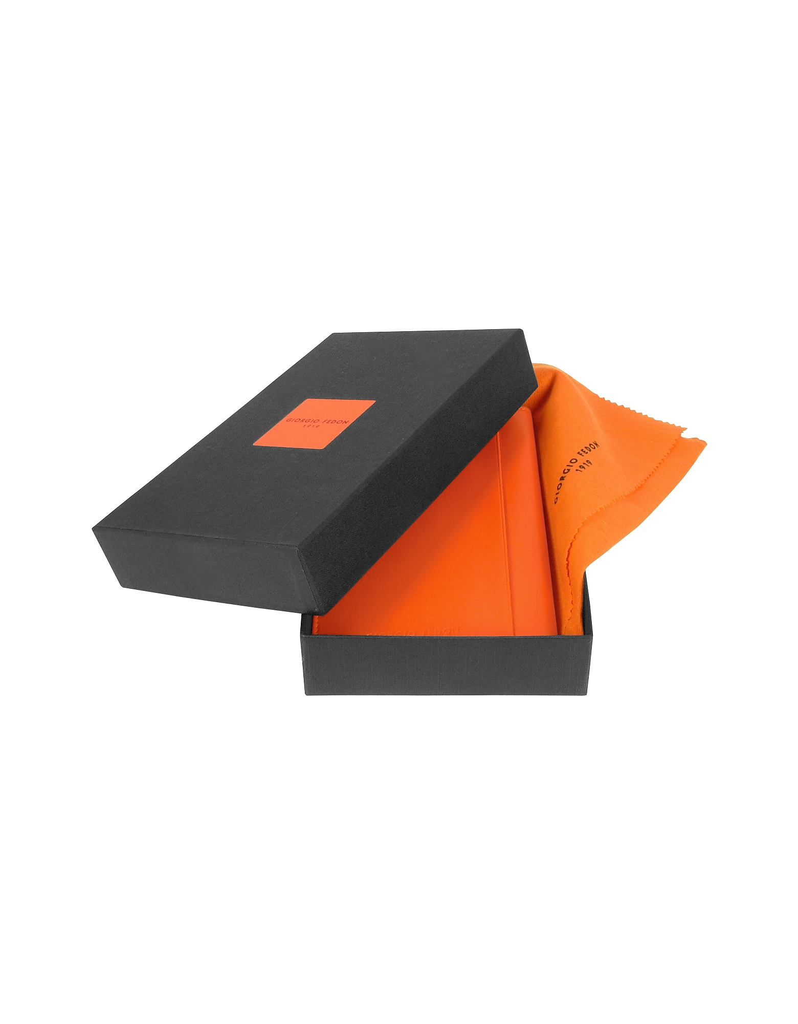 Classica Collection - Orange Calfskin Vertical Card Holder Wallet от Forzieri.com INT