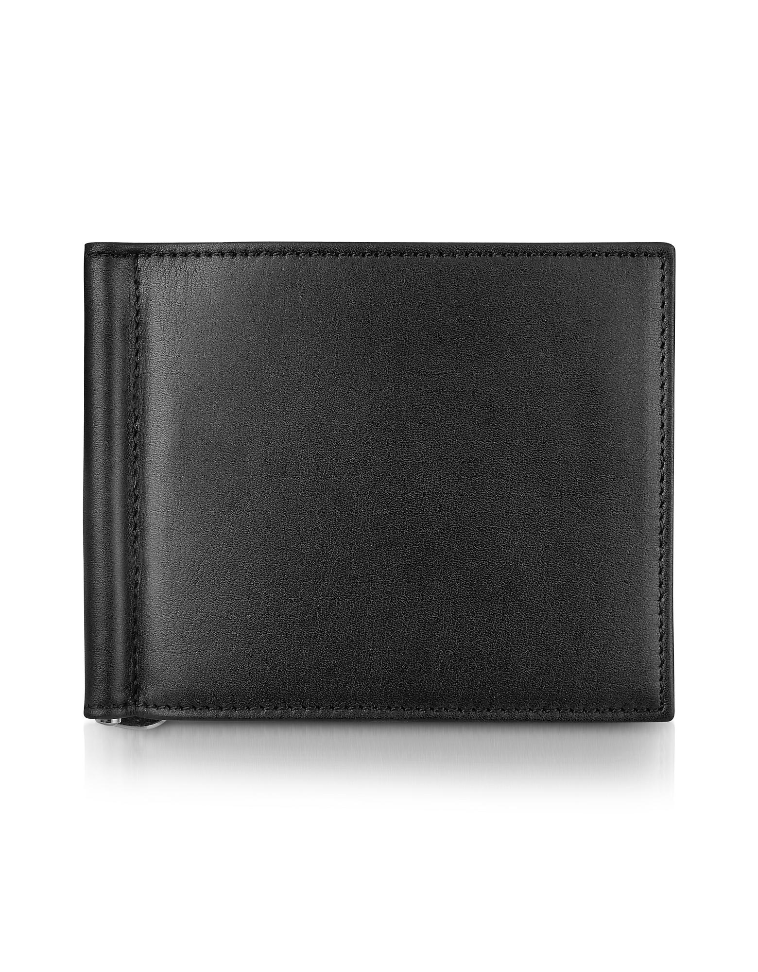 Classica Collection - Черный Бумажник из Кожи Теленка с Зажимом для Денег
