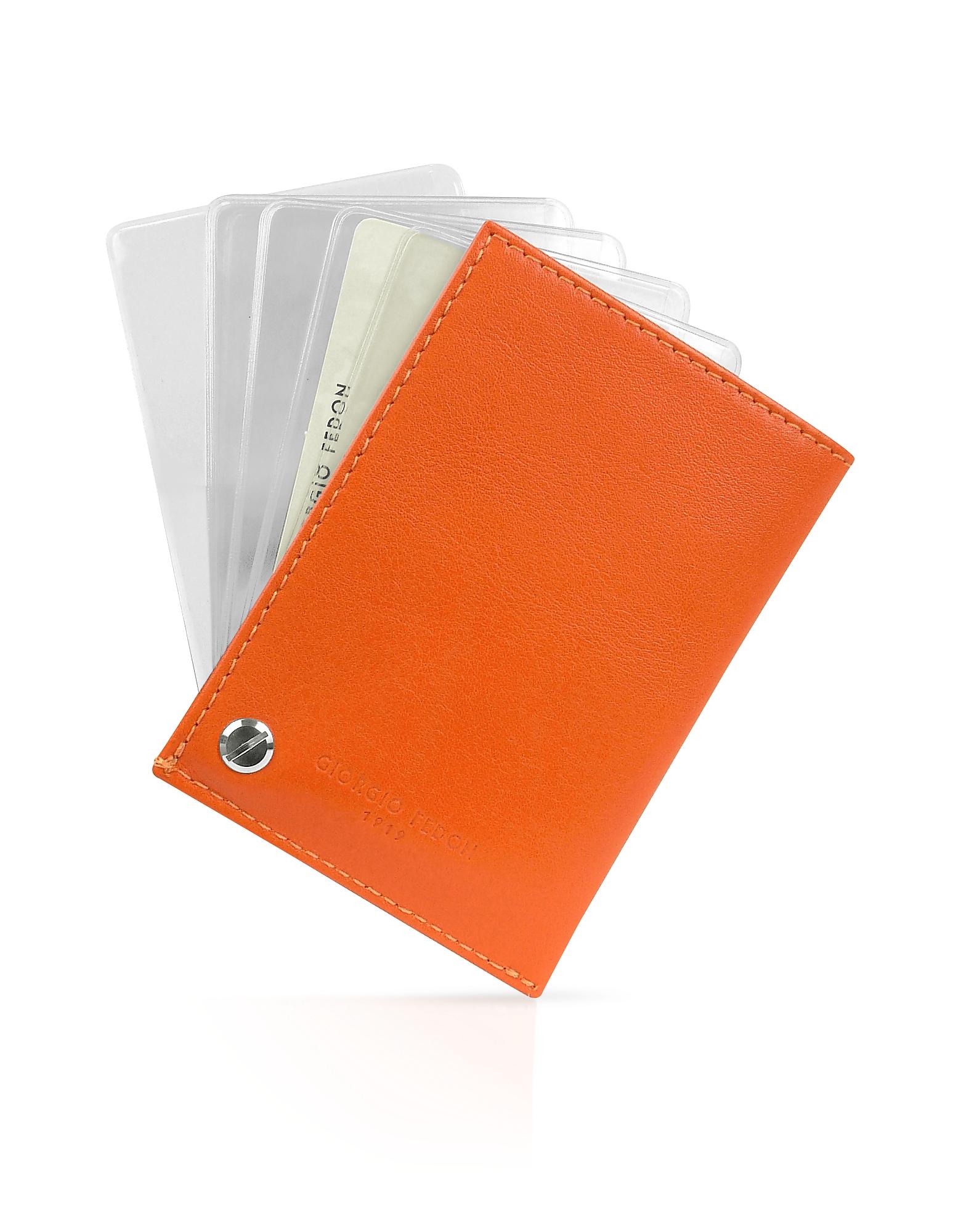 Фото Classica - Оранжевая Визитница из Кожи Теленка. Купить с доставкой