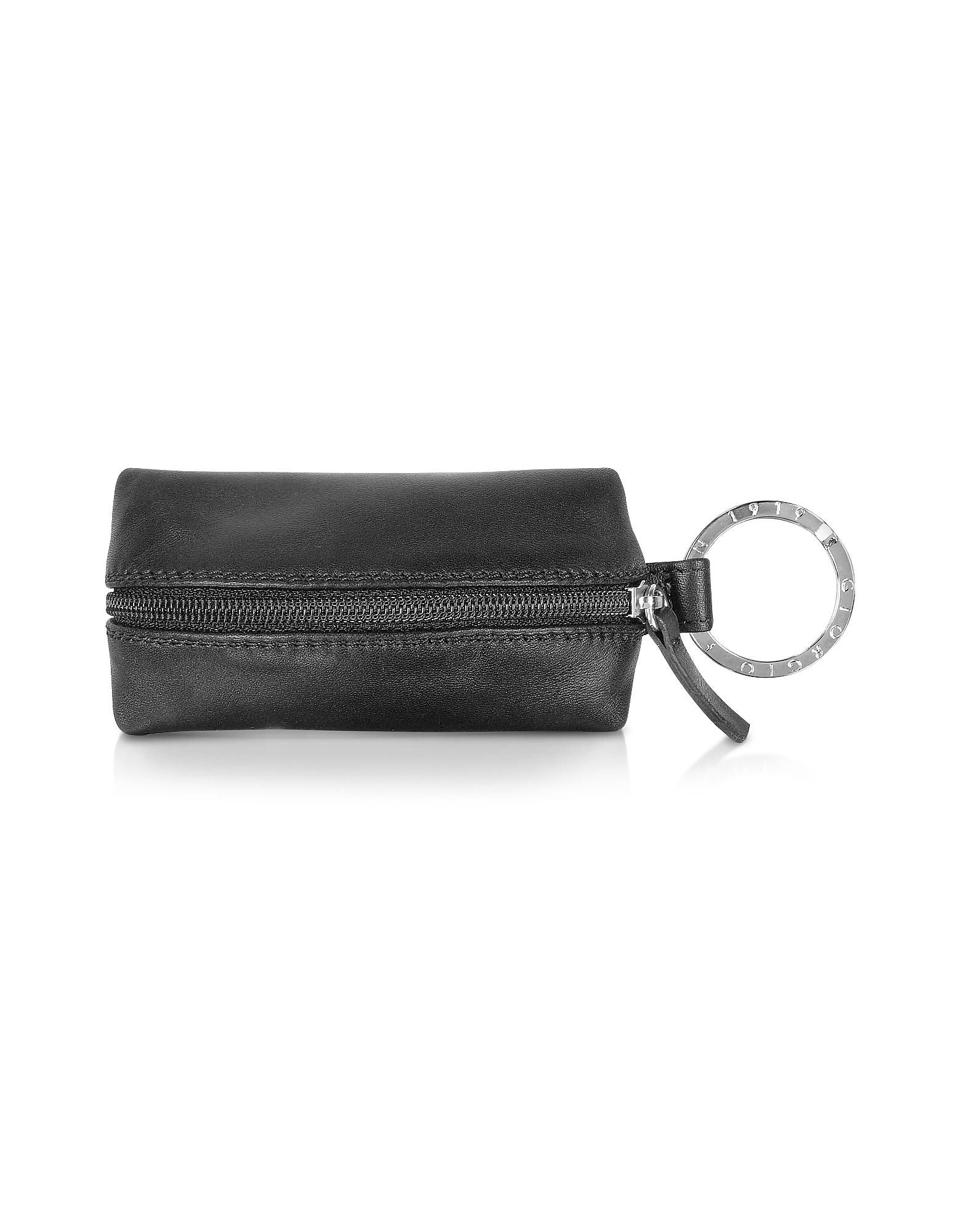 Фото Classica - Черный Брелок для Ключей из Кожи Теленка с Внутренним Отделением. Купить с доставкой