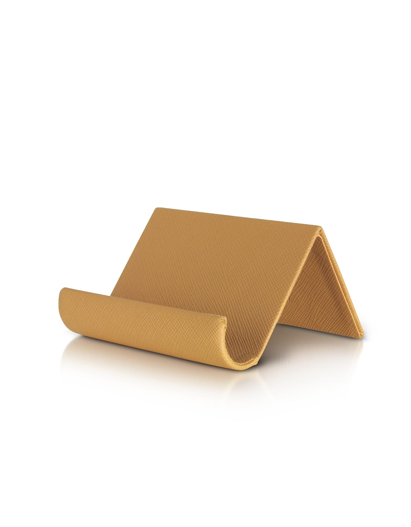 Camel Grained Business Card Desk Holder