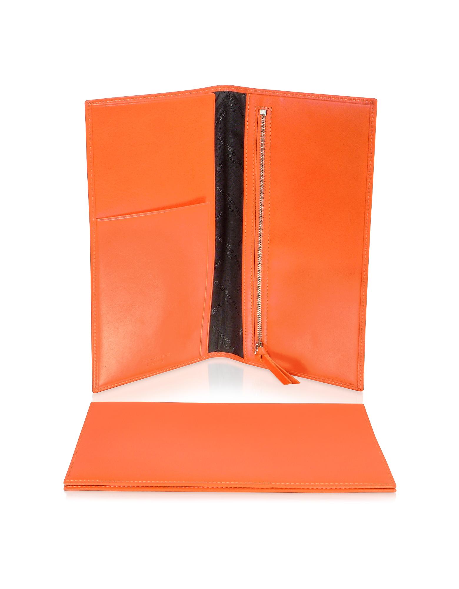 Giorgio Fedon 1919 Classica Collection - Оранжевая Папка для Проездных Документов из Кожи Теленка