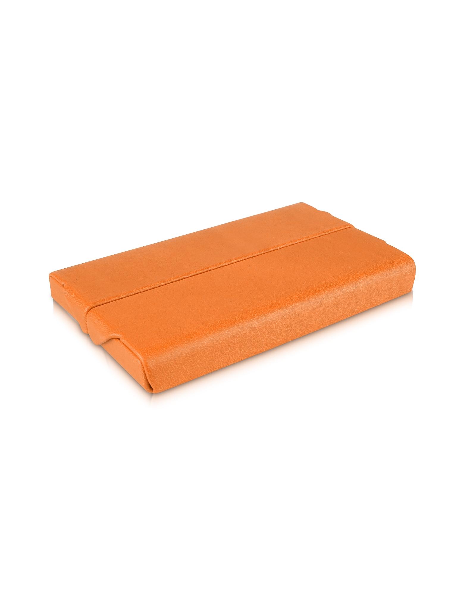 Оранжевая Визитница из Эко-кожи