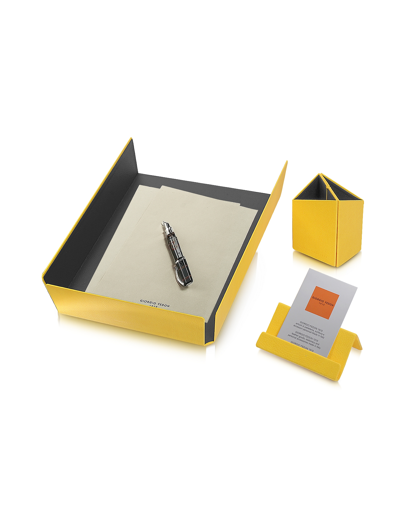 Giorgio Fedon 1919 Small Leather Goods, Charme - Yellow Desk Set