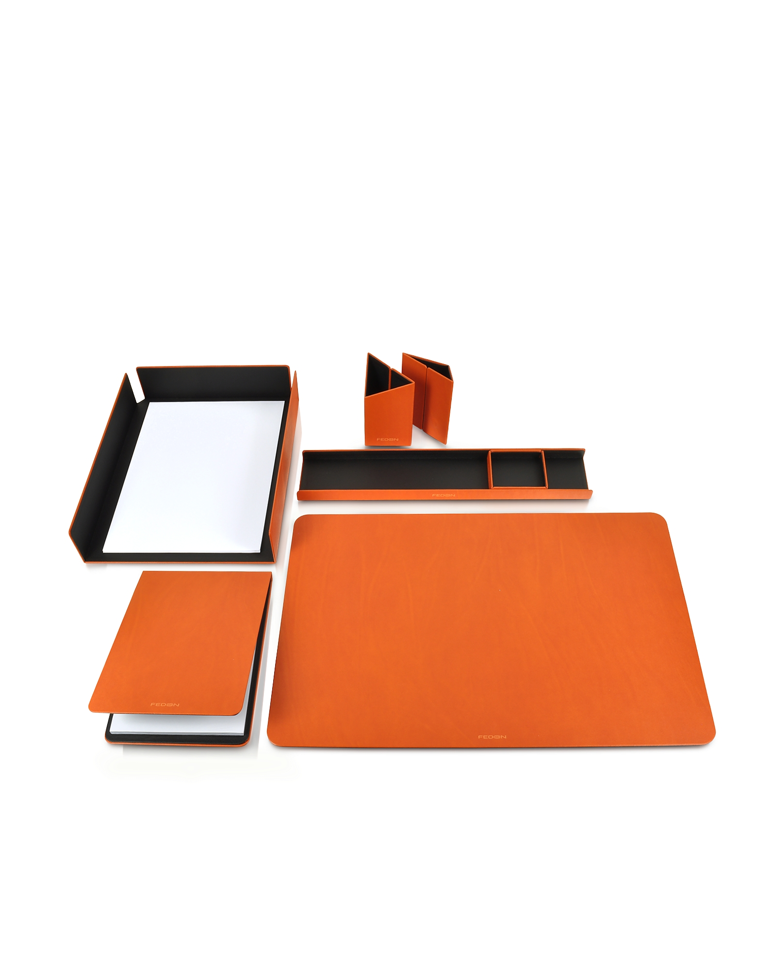 Metal and Leather Desk Set
