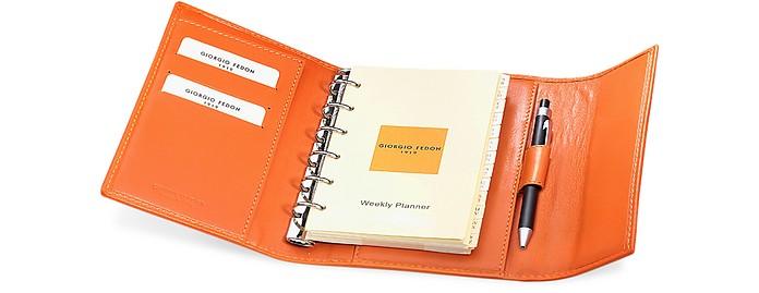 Classica - Medium Orange Calfskin Weekly Organizer Diary  - Giorgio Fedon 1919