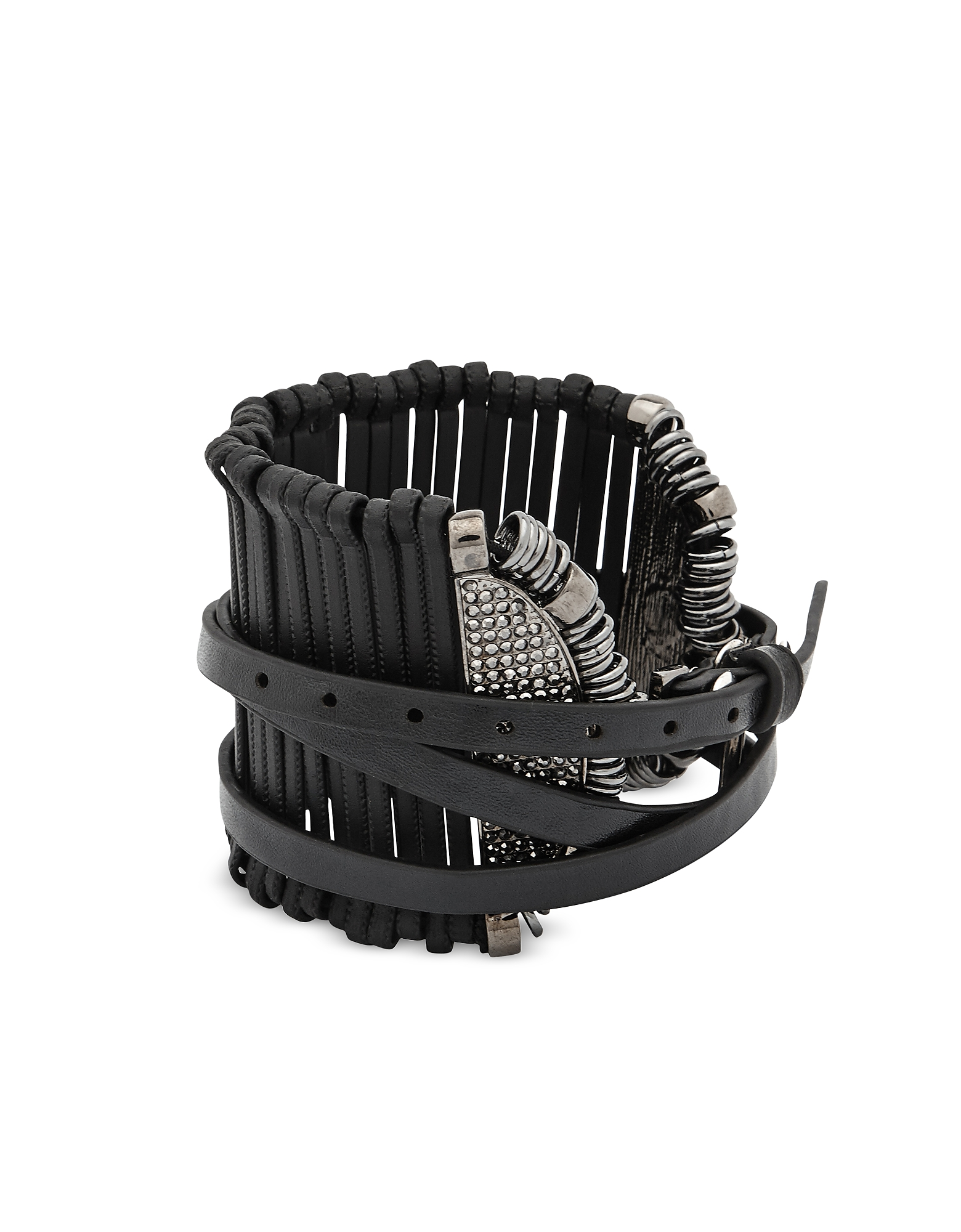 Federica Tosi Bracelets, Stick Leather and Metal Bangle