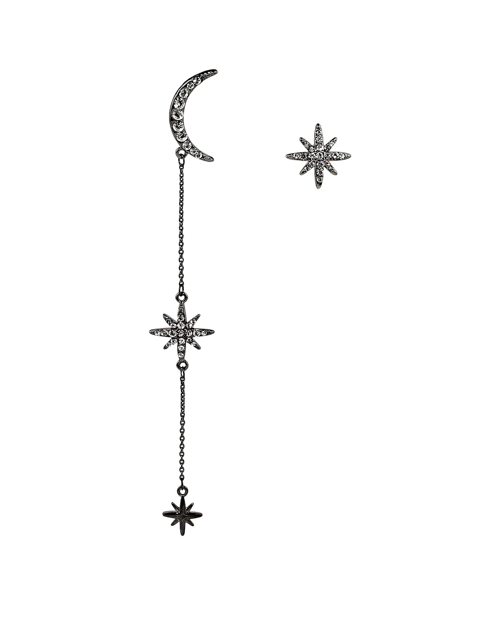 Federica Tosi Earrings, Long Moon Star Earrings