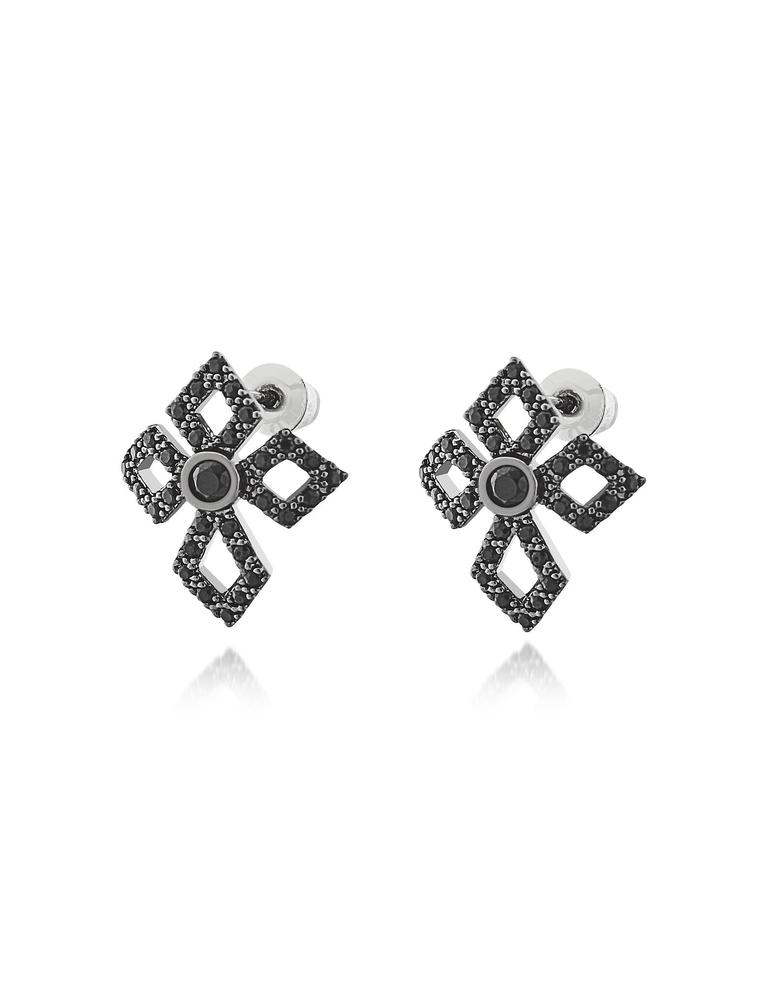 Серьги Кресты из Стерлингового Серебра с Кристаллами