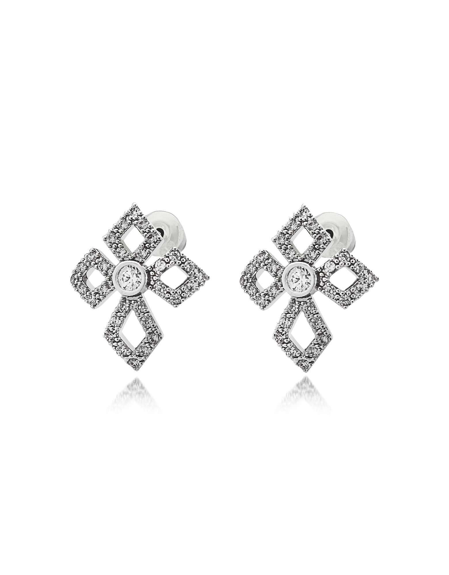 Federica Tosi Earrings, Sterling Silver Lobo Cross Earrings w/Crystals