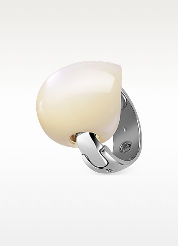 Skipper - White Mother-of-Pearl 18K White Gold Ring - Gino Fontana