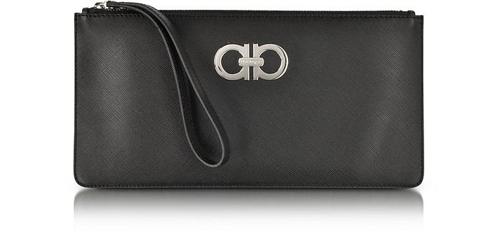 Black Saffiano Leather Pochette - Salvatore Ferragamo