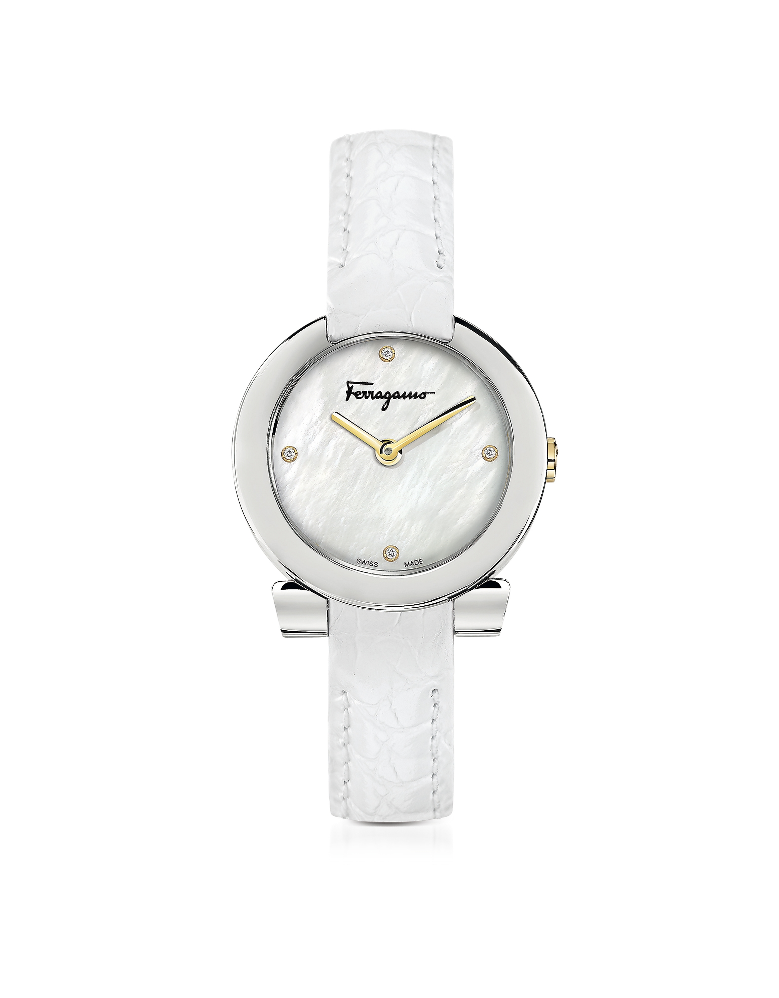 Salvatore Ferragamo Women's Watches, Gancino Stainless Steel and Diamonds Women's Watch w/White Croc