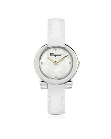 Stainless Steel White Mother of Pearl and Diamonds Women's Watch w/White Croco Embossed Strap - Salvatore Ferragamo