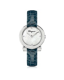 Gancino Stainless Steel White Mother of Pearl and Diamonds Women's Watch w/Blue Croco Embossed Strap - Salvatore Ferragamo