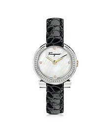 Stainless Steel White Mother of Pearl and Diamonds Women's Watch w/Black Croco Embossed Strap - Salvatore Ferragamo