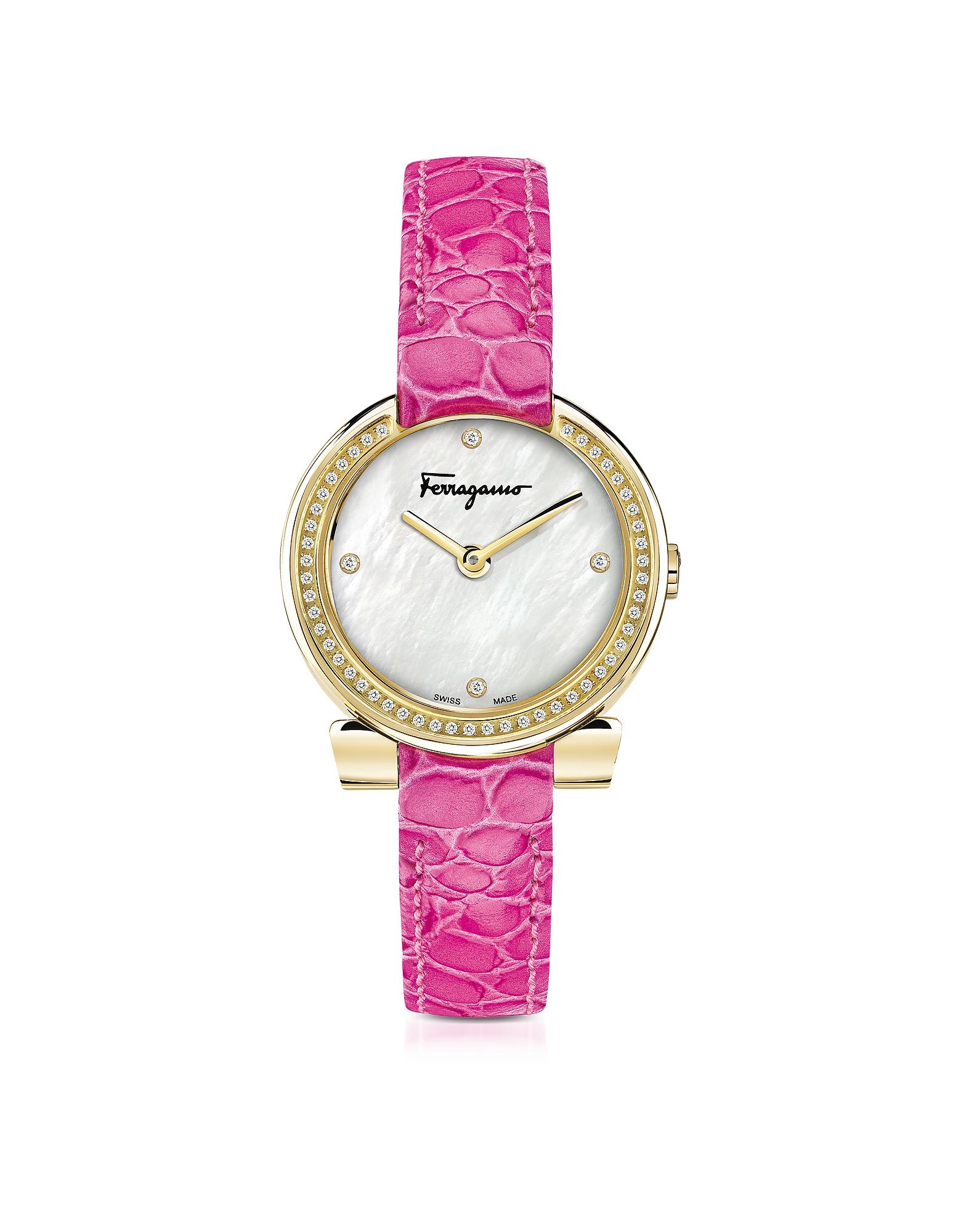 Фото Gancino - Позолоченные Женские Часы из Нержавеющей Стали с Белым Перламутровым Циферблатом на Розовом Ремешке из Кожи под Крокодиловую. Купить с доставкой