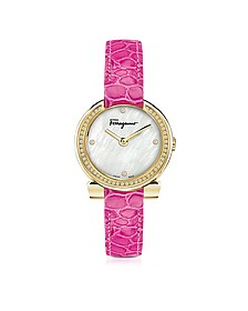 Gancino Gold IP Stainless Steel White Mother of Pearl and Diamonds Women's Watch w/Pink Croco Embossed Strap - Salvatore Ferragamo
