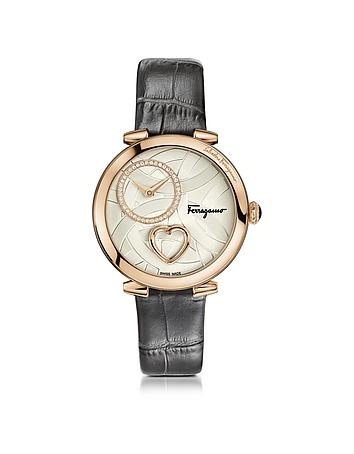 Salvatore Ferragamo - Cuore Ferragamo Rose Gold IP Diamonds Women's Watch w/Grey Croco Embossed Stra
