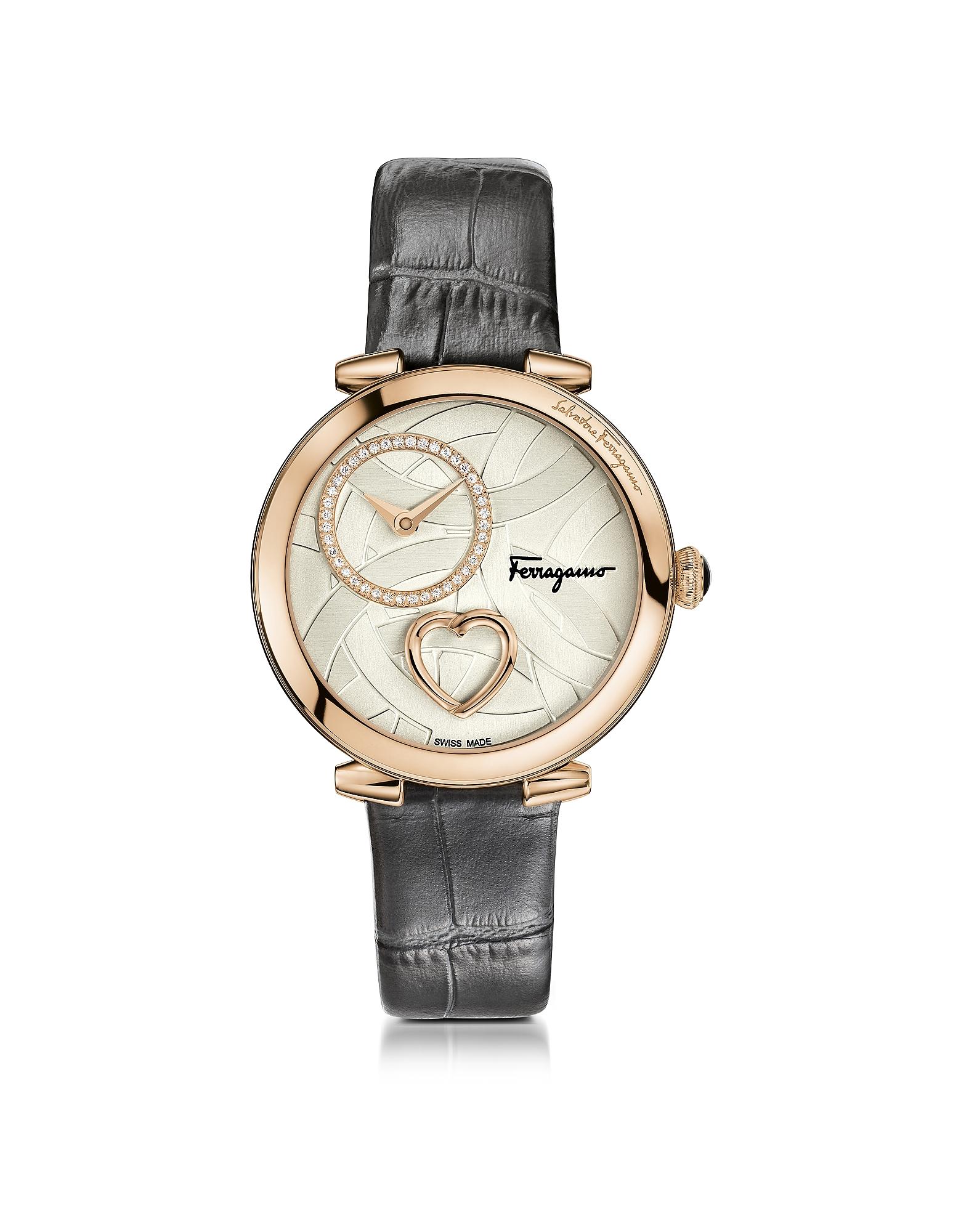 Salvatore Ferragamo Designer Women's Watches, Cuore Ferragamo Rose Gold IP Diamonds Women's Watch w/