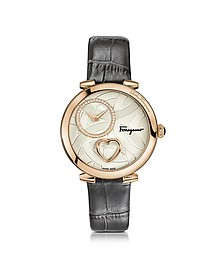 Cuore Ferragamo Rose Gold IP Stainless Steel Diamonds and Beating Heart Women's Watch w/Grey Croco Embossed Strap - Salvatore Ferragamo