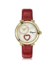 Cuore Ferragamo Gold IP Diamonds and Red Beating Heart Women's Watch w/Red Croco Embossed Strap - Salvatore Ferragamo