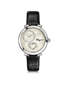 Cuore Ferragamo Stainless Steel Studs and Beating Heart Women's Watch w/Black Croco Embossed Strap - Salvatore Ferragamo