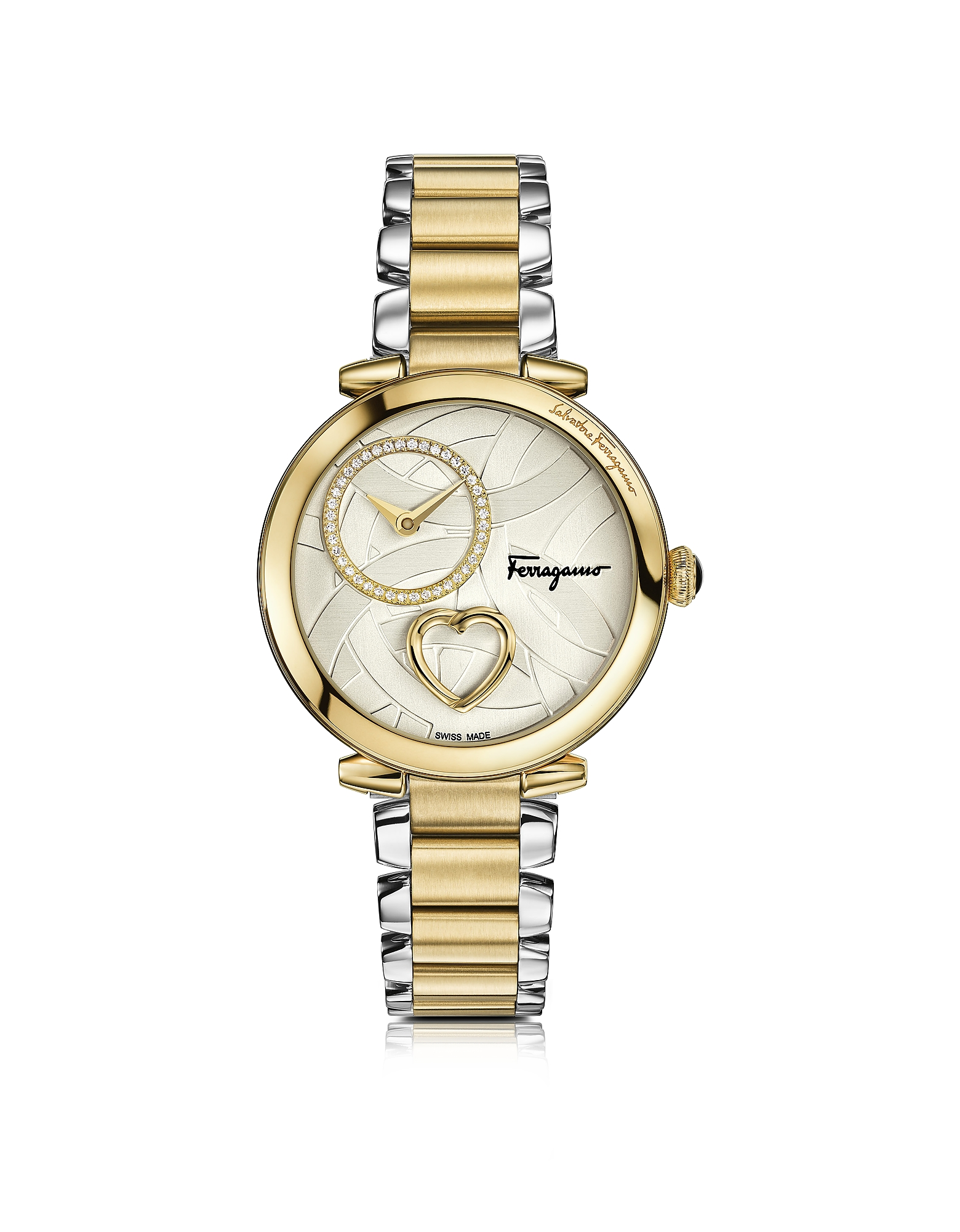 Cuore Ferragamo Stainless Steel and Gold IP Diamonds and Beating Heart Women's Bracelet Watch