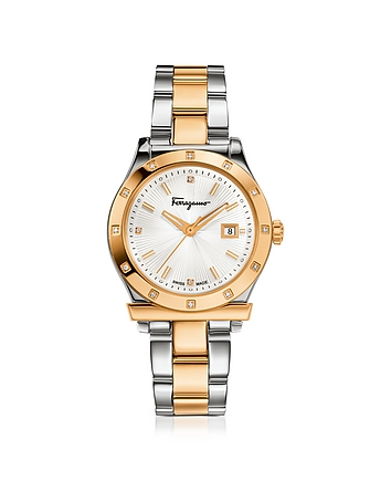 Salvatore Ferragamo - Ferragamo 1898 Stainless Steel and Gold IP Women's Bracelet Watch w/Diamonds