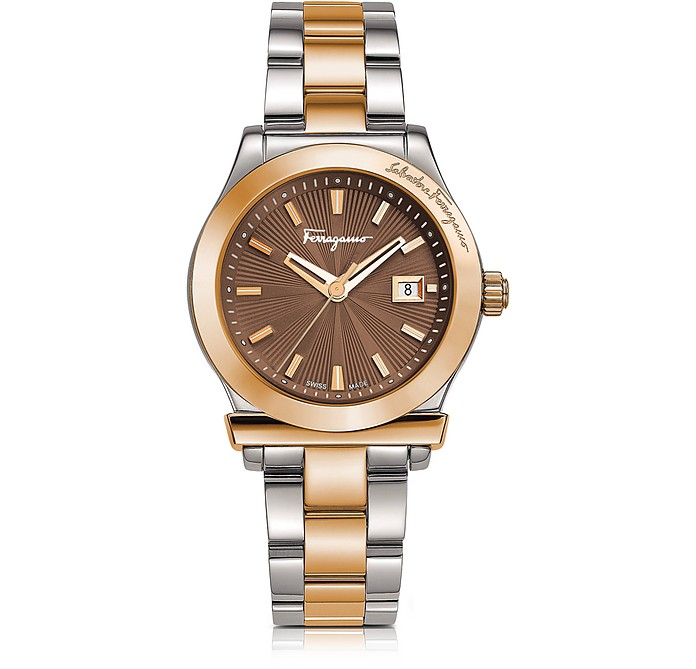 Ferragamo 1898 Stainless Steel and Rose Gold IP Women's Bracelet Watch w/Brown Dial - Salvatore Ferragamo