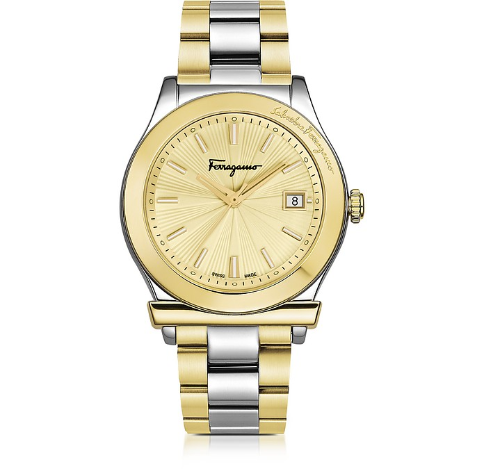 Ferragamo 1898 Stainless Steel and Gold IP Women's Bracelet Watch w/Sunray Guilloche' Dial - Salvatore Ferragamo