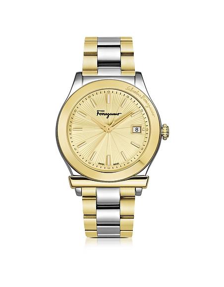 Salvatore Ferragamo Ferragamo 1898 Stainless Steel and Gold IP Women's Bracelet Watch w/Sunray Guilloche' Dial