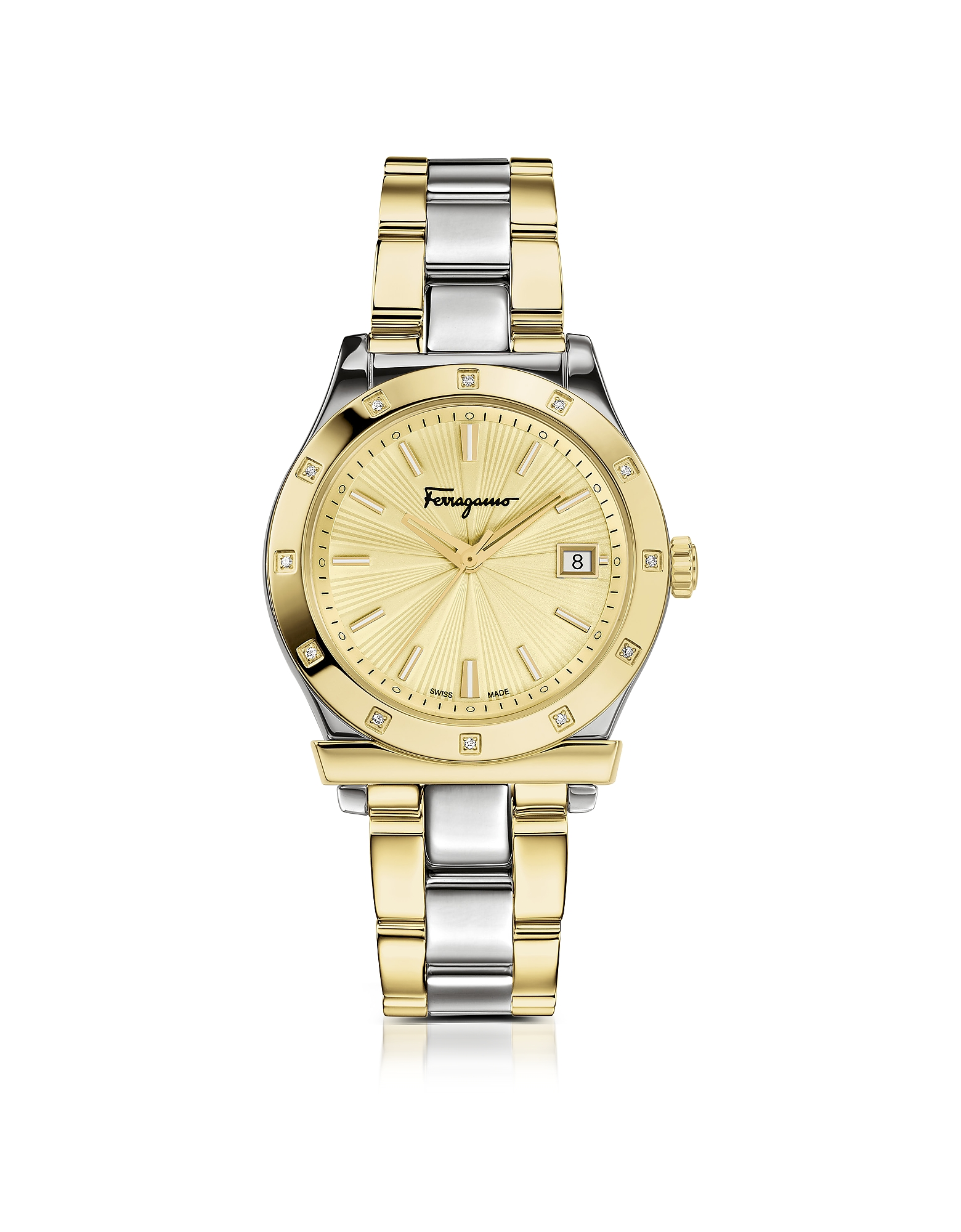 Ferragamo 1898 Stainless Steel and Gold IP Women's Bracelet Watch w/Diamonds