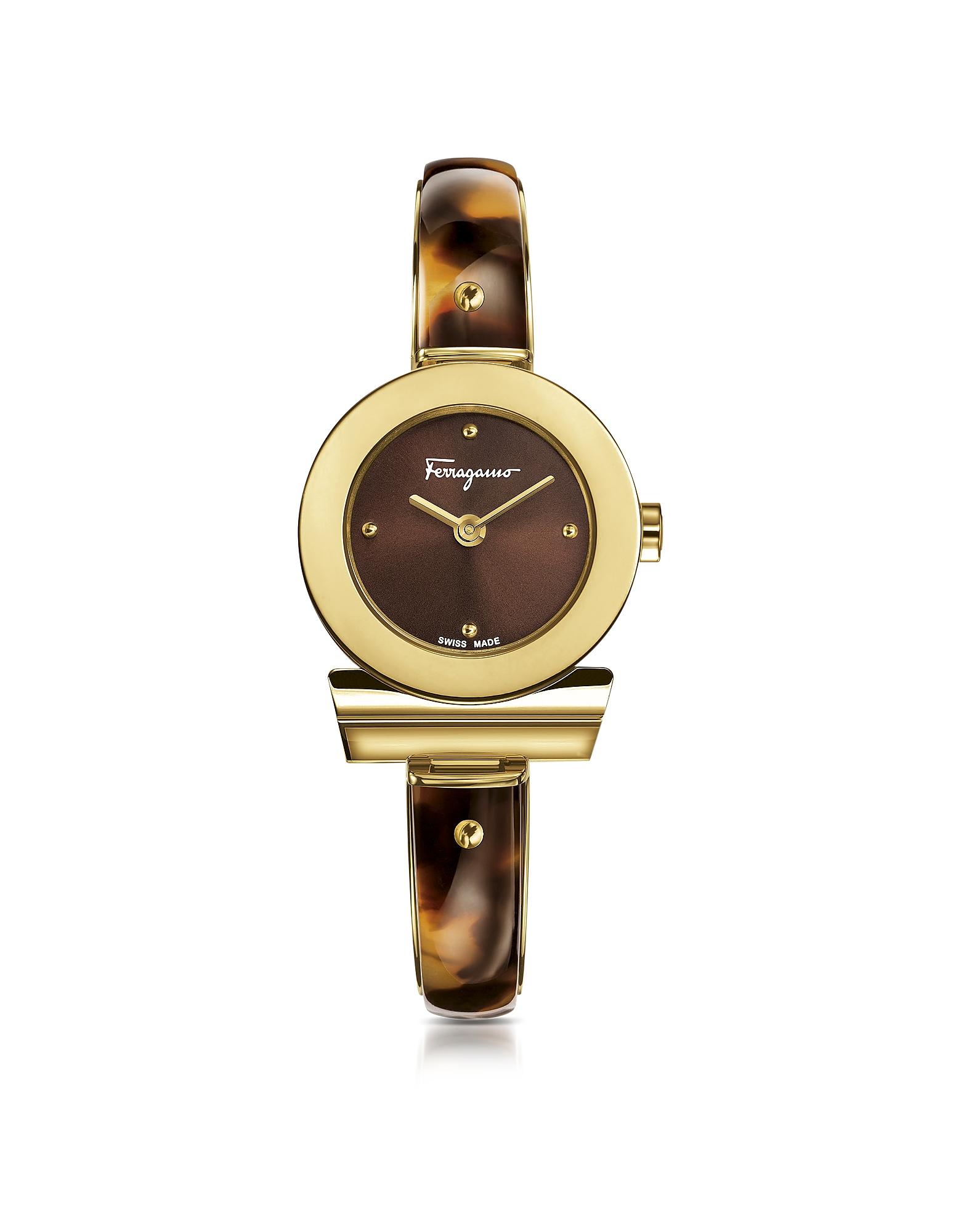 Salvatore Ferragamo Women's Watches, Gancino Gold IP Stainless Steel and Brown Acetate Women's Watch