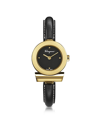 Salvatore Ferragamo - Gancino Gold IP Stainless Steel and Black Leather Strap Women's Watch