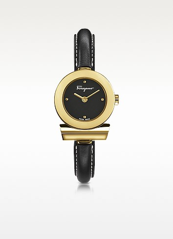 Gancino Gold IP Stainless Steel and Black Leather Strap Women's Watch - Salvatore Ferragamo